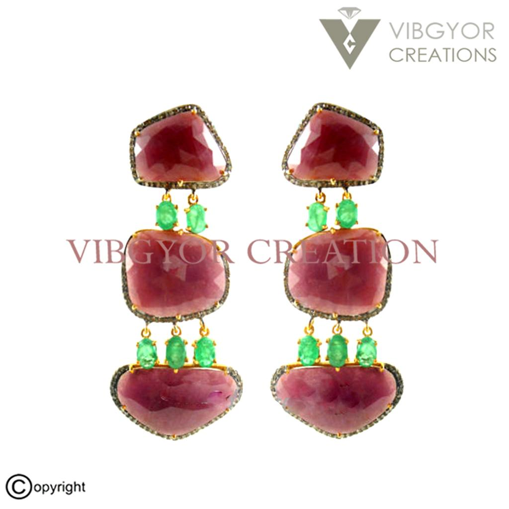 Ruby Emerald 14k Gold Natural Diamond Earrings Stud 925 Sterling Silver  Jewelry